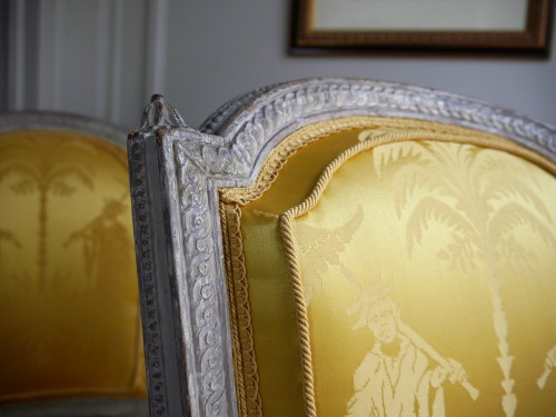 Suite of 4 chairs stamped by Henri Jacob, 18th century - Seating Style Louis XVI