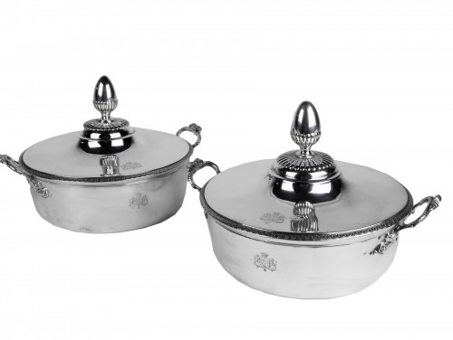 Pair of silver vegetable dishes, Charles X, 19th century
