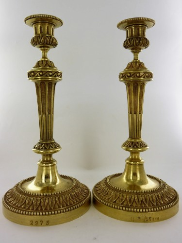 18th century - A Pair of Louis XVI Candlesticks coming from Ministry of Finances