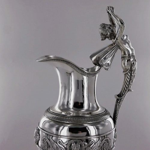 An ewer and its basin in silver, Empire style, 19th century - Antique Silver Style Empire