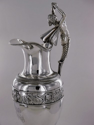 Antique Silver  - An ewer and its basin in silver, Empire style, 19th century
