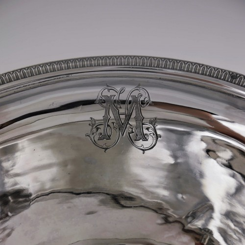 An ewer and its basin in silver, Empire style, 19th century -
