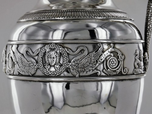 An ewer and its basin in silver, Empire style, 19th century - Empire
