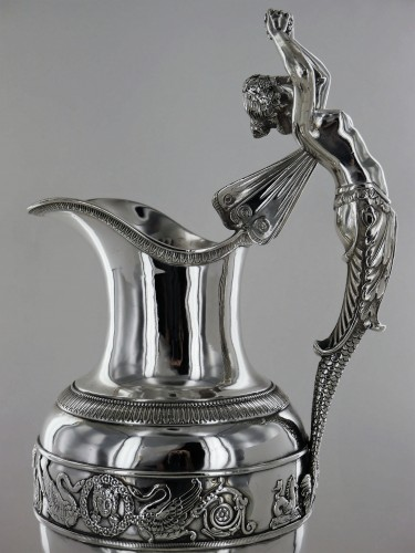 Empire - An ewer and its basin in silver, Empire style, 19th century