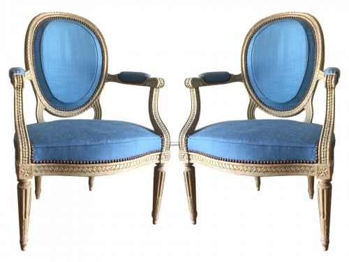 Pair Of Large Louis XVI Cabriolet Armchairs Stamped By I B Séné, 18th Centu