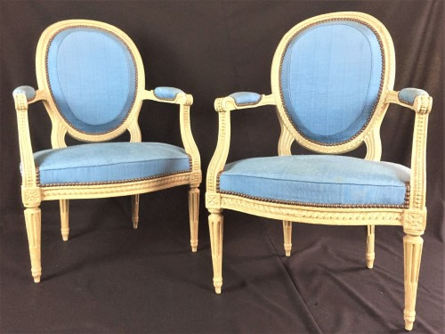 Pair Of Large Louis XVI Cabriolet Armchairs Stamped By I B Séné, 18th Centu - Seating Style Louis XVI