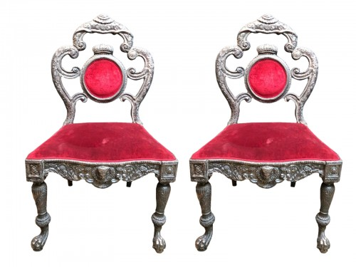 Pair of Anglo Indian silver armchairs, circa 1870