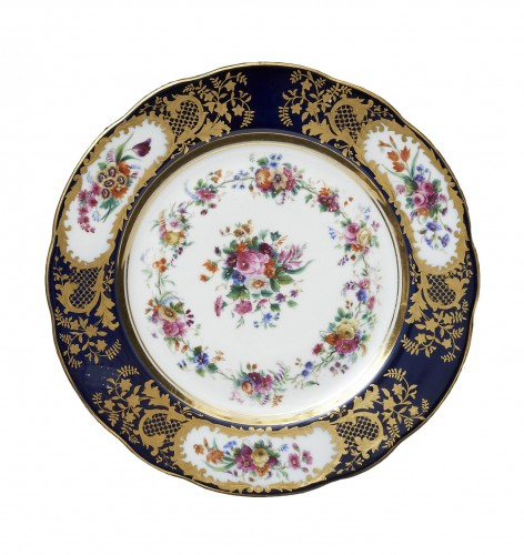 A set of eight Russian Imperial Porcelain dishes