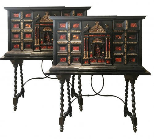 Pair of ormolu-mounted tortoiseshell cabinets
