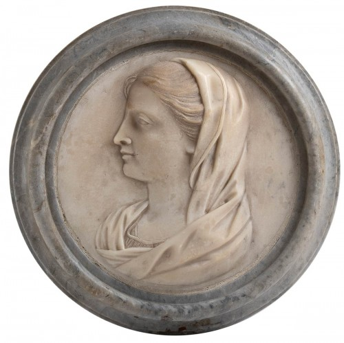 Sculpture  - Announcing Angel and Virgin Announced, Carrara marble medallions
