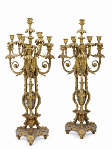 Pair of candelabra, France last quarter of 19th Century - Deniere & Picard AA -