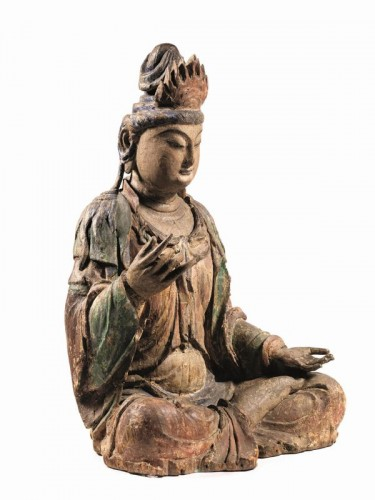 <= 16th century - Large sculpture of Buddha, China Ming Dynasty, 15th / 16th Century