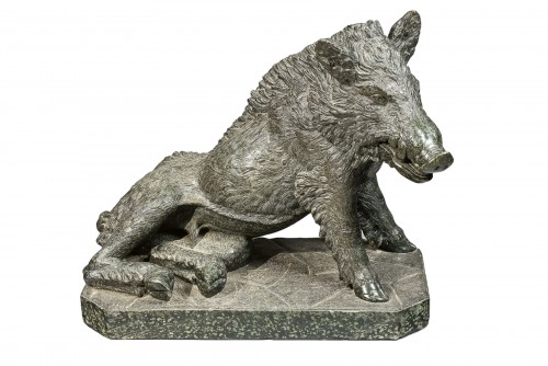 A Serpentine Marble figure of a boar