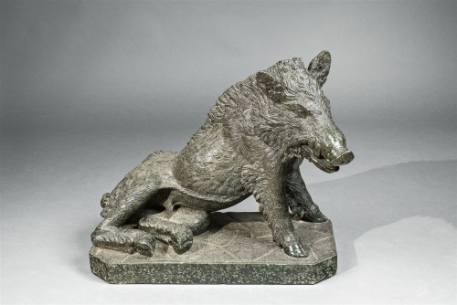 A Serpentine Marble figure of a boar - Sculpture Style