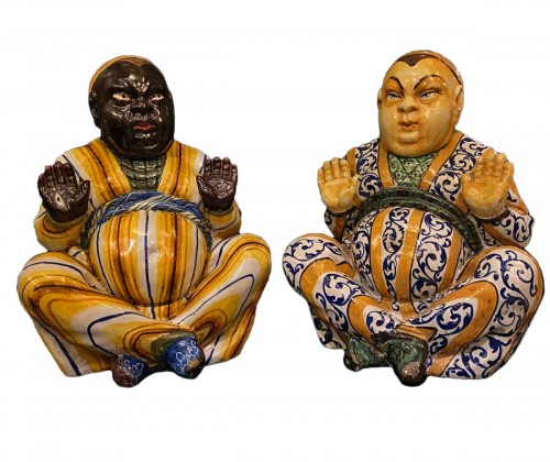 Pair of ceramic sculptures