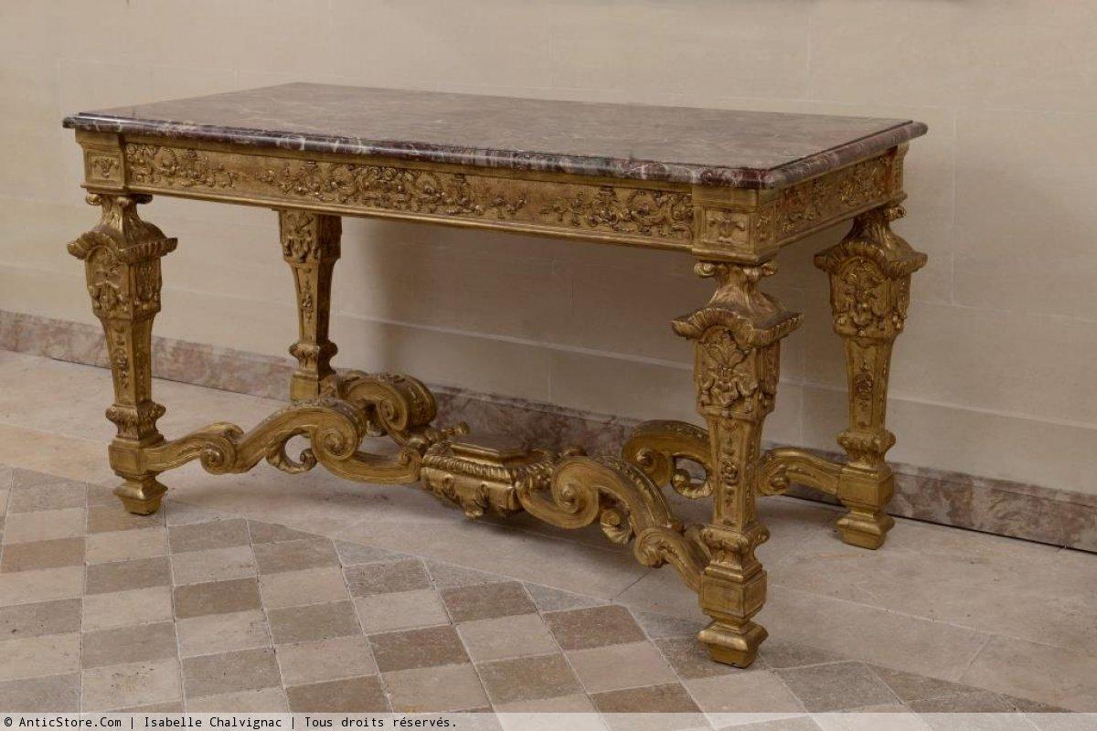Table de milieu bois doré sculpté  XVIIe siècle  N28293
