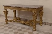 Rare French Louis XIV carved giltwood and marble top center table