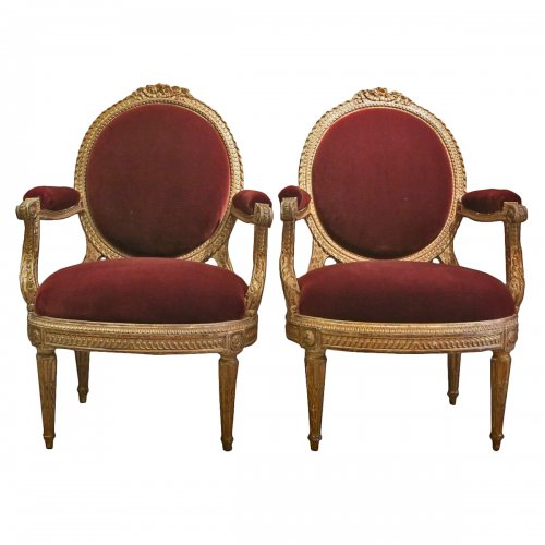 A pair gilt wood chairs Transition by Nicolas Parmentier