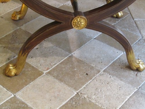 Seating  -  A pair painted and giltwood Charles X stool