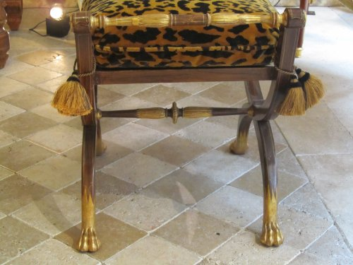 A pair painted and giltwood Charles X stool -