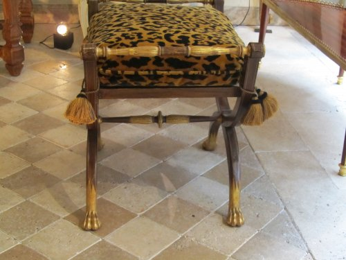 A pair painted and giltwood Charles X stool - Restauration - Charles X