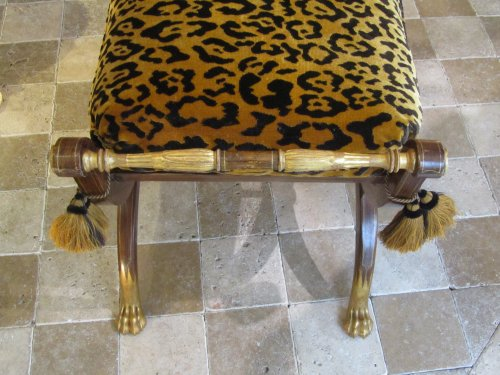 Restauration - Charles X -  A pair painted and giltwood Charles X stool