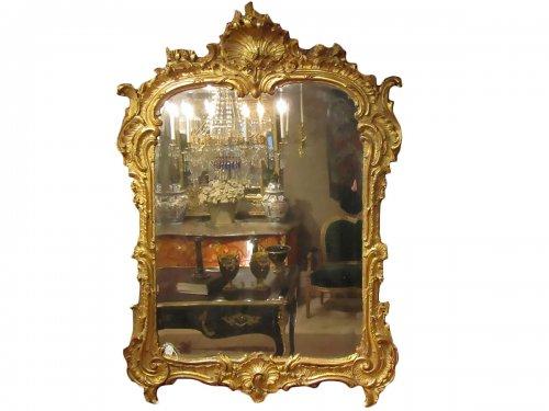 A Rocaille Louis XV giltwood mirror
