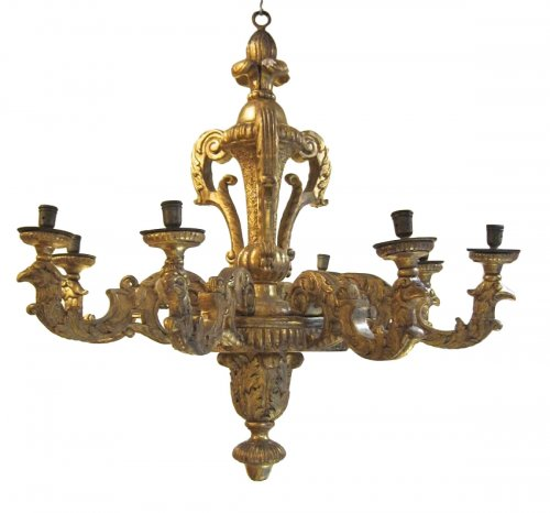 French Louis XIV giltwood chandelier
