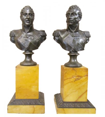 Pair of bronze bust