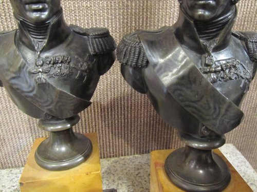 Pair of bronze bust  - Sculpture Style Restauration - Charles X