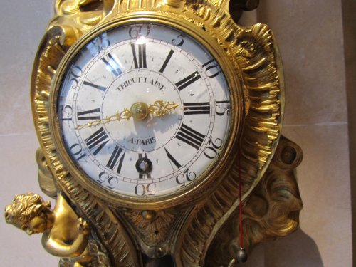 A french Louis XV ormolu striking cartel clock stamped A Thiout - Clocks Style Louis XV