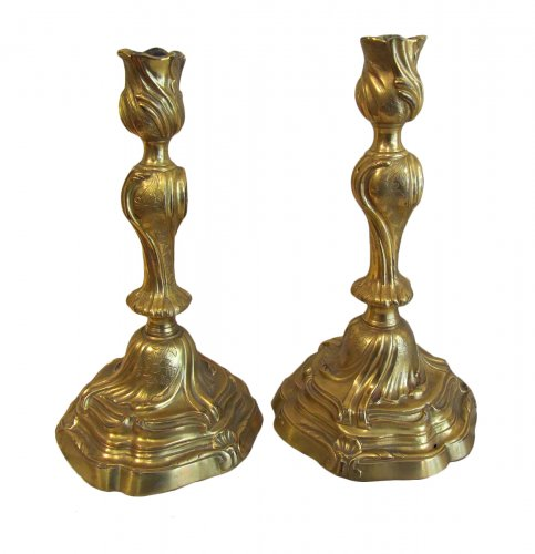 A pair of Louis XV ormolu clandlesticks