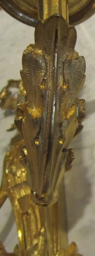 Louis XVI - A pair of gilt bronze wall lights Louis XVI
