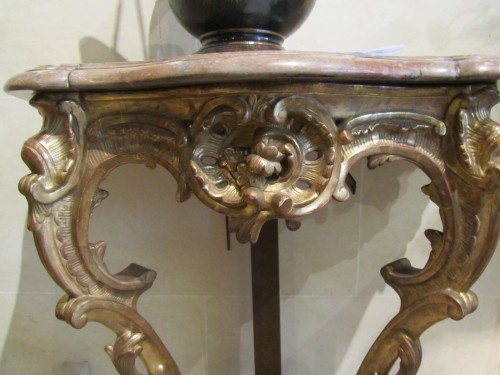 Furniture  - A pair of  Louis XV gilt-wood consoles