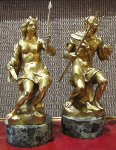 A pair of rarely French gilted bronze early 18th century - Sculpture Style French Regence