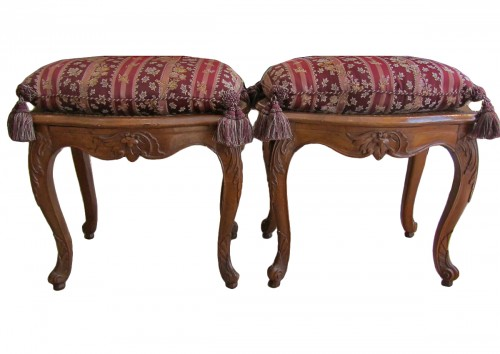 A pair of Louis XV beechwood  Parisian stools .
