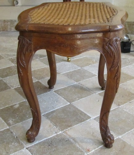 A pair of Louis XV beechwood  Parisian stools . -