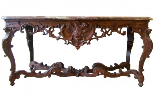 An important Regence carved oakwood console-table