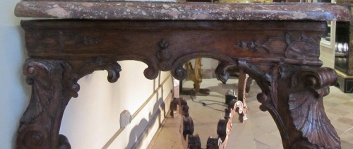 French Regence - An important Regence carved oakwood console-table