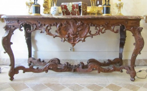 Antiquités - An important Regence carved oakwood console-table