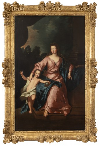Portrait of Françoise Marie de Bourbon with her son, attribute to P. Gobert