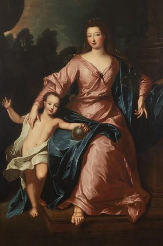 Portrait of Françoise Marie de Bourbon with her son, attribute to P. Gobert -