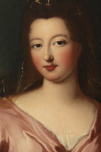Portrait of Françoise Marie de Bourbon with her son, attribute to P. Gobert - French Regence