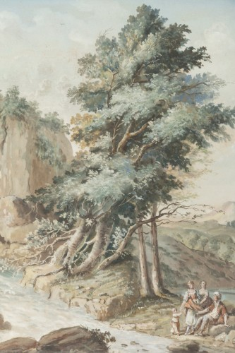 18th century - A pair of Eighteenth watercoloured Gouaches