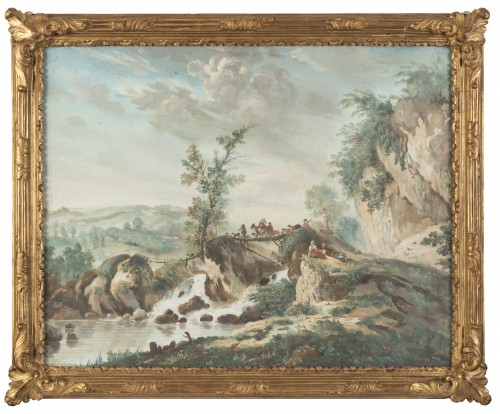 Louis XVI - A pair of Eighteenth watercoloured Gouaches