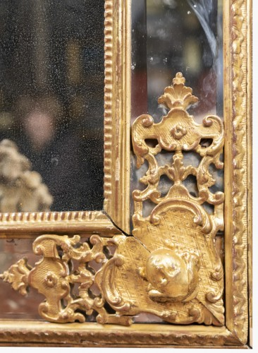 An Regence giltwood glass Mirror - Mirrors, Trumeau Style French Regence