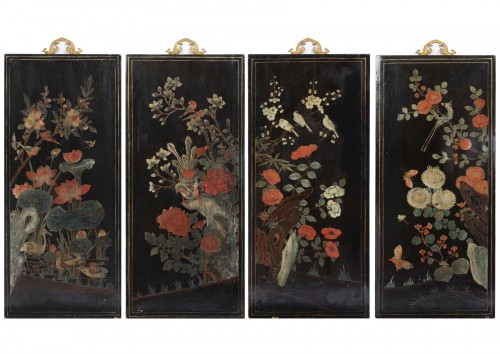 A set of four Lacquer Panels China