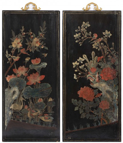 A set of four Lacquer Panels China - Asian Art & Antiques Style
