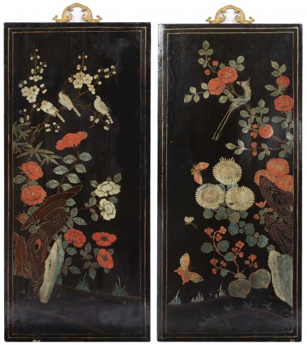 Asian Art & Antiques  - A set of four Lacquer Panels China