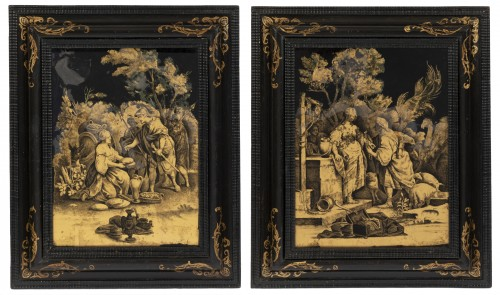 A Pair of Italian ' Fixés sous Verre'  Panels early 18th century